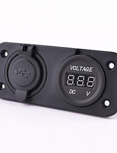 moottoripyörä auto dual usb laturi adapteri volttimittarin pistorasia