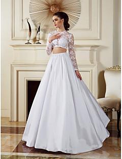 동창회 - 라인 / 공주 웨딩 드레스 - 흰색 바닥 길이 보석 레이스 / 태 피터