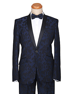 Tuxedos Tailored Fit Shawl Collar One-Button Cotton/Polyester Patterns 2 Pieces Dark Blue