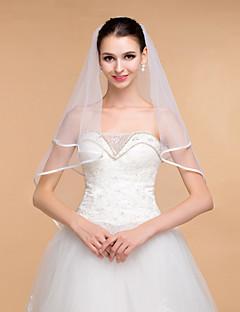 boda velos elegantes diamantes de imitación de tul de un solo nivel velos borde de la cinta de la mujer