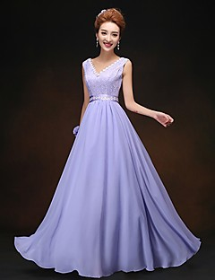 Sheath / Column V-neck Floor Length Chiffon Bridesmaid Dress with Lace