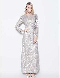 Vestido Para Mãe dos Noivos - Prateado Tubo/Coluna Longo Manga Comprida Lantejoulas
