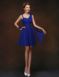 Short / Mini Lace-up Bridesmaid Dress - Sheath / Column Spaghetti Straps with Flower(s)