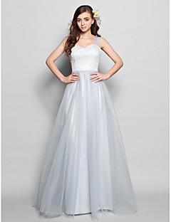 Lanting Bride® Longo Renda / Tule Vestido de Madrinha - Linha A Alças Tamanhos Grandes / Mignon com Renda