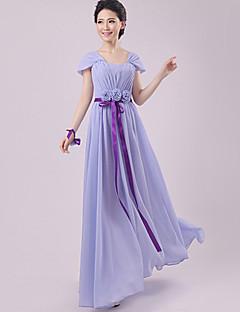 Floor-length Chiffon Bridesmaid Dress - Lavender Sheath/Column Scalloped
