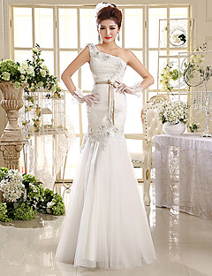 Trumpet / Mermaid Wedding Dress Floor-length One Shoulder Organza with Appliques / Beading / Sash / Ribbon