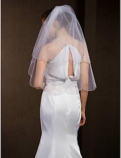 bruiloft sluiers vrouwen elegante tule two-tier kraalrand sluiers