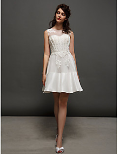 lan ting a-linje / prinsesse brudekjole - elfenben kort / mini juvel blonder / taffeta
