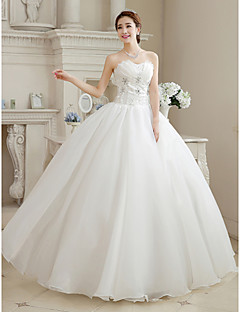 Ball Gown Wedding Dress Floor-length Sweetheart Organza with Beading / Flower
