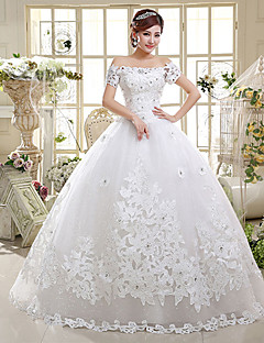 Ball Gown Wedding Dress - Classic & Timeless Lacy Look Floor-length Off-the-shoulder Satin Tulle with Appliques Sequin Beading