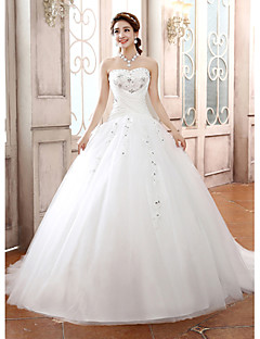 Ball Gown Wedding Dress Sparkle & Shine Court Train Strapless Tulle with Appliques Beading Criss-Cross