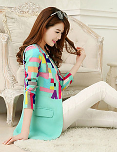 Women's All Seasons Blazer,Print Long Sleeve Gray / Green Polyester Medium