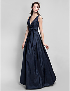 Lanting Bride® Floor-length Taffeta Bridesmaid Dress - A-line V-neck Plus Size / Petite with Bow(s) / Sash / Ribbon