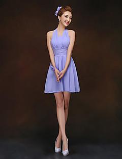 Short/Mini Bridesmaid Dress - Lavender Sheath/Column Halter