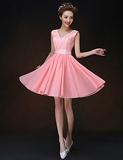 A-line/Princess Straps Short/Mini Bridesmaid Dress(819)