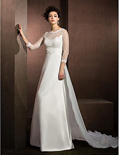 A-line Wedding Dress - Ivory Chapel Train Jewel Lace/Organza/Satin