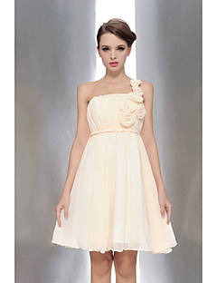 Knee-length Chiffon Bridesmaid Dress - Champagne / White / Ruby / Fuchsia / Lavender A-line One Shoulder / Strapless