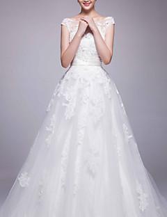 웨딩 드레스 - 화이트 A 라인 채플 트레인 바토 오르간자