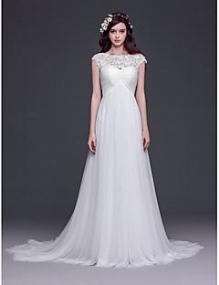 웨딩 드레스-A-라인 / 공주 코트 트레인 보트넥 튤
