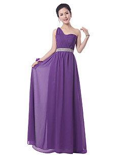 Floor-length Chiffon Bridesmaid Dress - Regency Sheath/Column One Shoulder