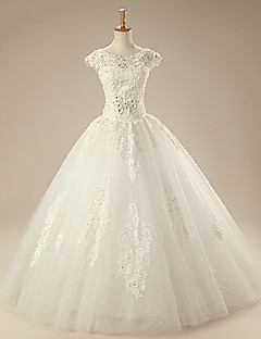 A-line Wedding Dress - White Floor-length High Neck/Square Organza