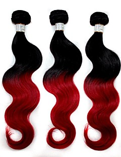 "Top Quality 100g/Pack Brazilian Body Wave Human Hair Extension 1B/Red Ombre  Hair Weave 12""-24"""