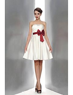Robe de Demoiselle d'Honneur  A-line Sans bretelles Longueur genou Satin