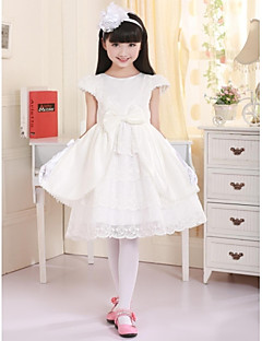 Princess Knee-length Flower Girl Dress - Satin Short Sleeve