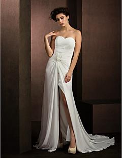 Lanting Bride® A-라인 / 공주 퍼티트 / 플러스 사이즈 웨딩 드레스 코트 트레인 스윗하트 쉬폰 와