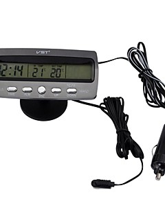 Cigar Lighter Black Multi-fonction Car Digital Clock with Thermometer and Automotive Voltmeter/Calendar(12V)