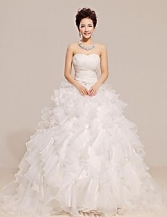 A-line Court Train Wedding Dress -Strapless Tulle