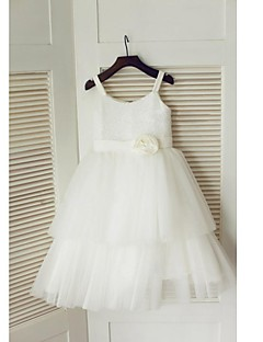 A-line Tea-length Flower Girl Dress - Tulle Sequined Spaghetti Straps with Flower(s) Sash / Ribbon Pleats