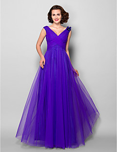 A-line Plus Size / Petite Mother of the Bride Dress Floor-length Sleeveless Tulle with Flower(s) / Side Draping / Criss Cross / Ruching