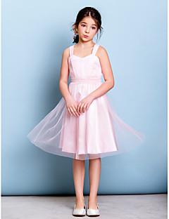 Vestido de Dama de Honor Junior - Rosa Corte A Tirantes Hasta la Rodilla