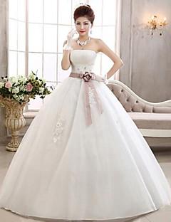 טול -strapless שמלת כלה באורך רצפת שמלת נשף