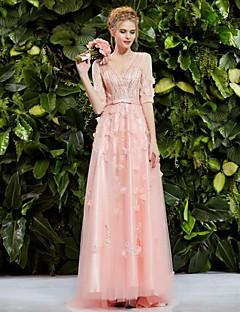 저녁 정장파티 드레스 - 블러슁 핑크 프린세스 스위프/브러쉬 트레인 V넥 레이스/명주그물