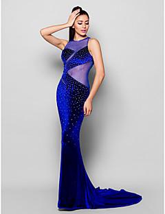 Fiesta formal Vestido - Azul Real Corte Sirena Cola Corte - Escote Joya Terciopelo