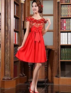 Коктейль-приём Платье - Красный Трапеция V-образный Мини-платье Шелк