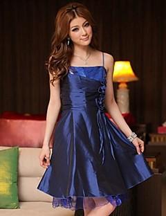 Knee-length Satin Bridesmaid Dress - Royal Blue / Black / Purple A-line / Princess Spaghetti Straps