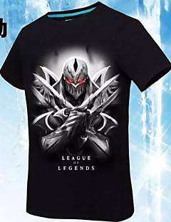 に触発さ League of Legends Yuna ビデオ ゲーム コスプレ衣装 コスプレTシャツ プリント / 幾何学模様 ブラック ショート Tシャツ(21)