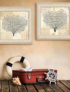 Blumenmuster/Botanisch / Fantasie Gerahmtes Leinenbild / Gerahmtes Set Wall Art,PVC Beige Kein Passpartout Mit Feld Wall Art