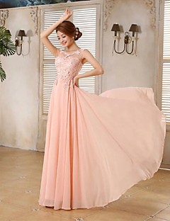 Prom Formal Evening Holiday Family Gathering Dress - Beautiful Back Elegant Lace-up A-line Scoop Floor-length Chiffon with Lace