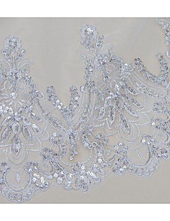 One-tier - Cut Edge/Lace Applique Edge Cathedral Veils ( White/Beige , Applique/Pearls )