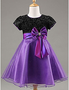 Flower Girl Dress Knee-length Organza/Satin A-line Short Sleeve Dress with Sequined