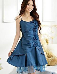 Knee-length Satin / Polyester Bridesmaid Dress A-line / Princess Spaghetti Straps with