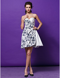 Cocktail Party Dress - Print Plus Sizes / Petite A-line / Princess Sweetheart Short/Mini Satin