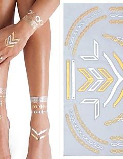Tatuajes Adhesivos - Modelo/Parte Lumbar/Waterproof - Series de Joya - Mujer/Adulto/Juventud - Dorado/Plata - Papel - 1 - 25*15.5CM
