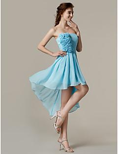 Brautjungfernkleid - Blau Chiffon - A-Linie - asymmetrisch - trägerloser Ausschnitt