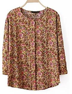 여성의 프린트 라운드 넥 ¾ 소매 셔츠,심플 캐쥬얼/데일리 멀티 색상 폴리에스테르 봄 / 여름 얇음