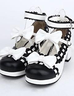Sapatos Doce Lolita Salto Alto Sapatos Laço 4.5 CM Preto Para Feminino Couro PU/Couro de Poliuretano